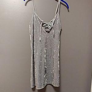 Crushed velvet silver mini dress